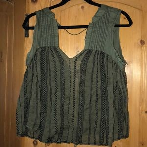 FREE PEOPLE !!!!!! Green V tank top with open back
